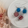 """Blueberry Filling Macarons"" Handmade Drop Earrings"