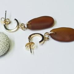 Seaglass  Earrings  - Rich Honey