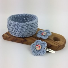 Crochet Trinket Basket and Pair of Flower Hairclips | Hand Crocheted | Gift Idea