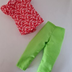 Barbie doll clothes - green 3/4 pants and red floral blouse set