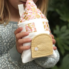 Tooth Fairy Pillow House house in pink & glittery gold