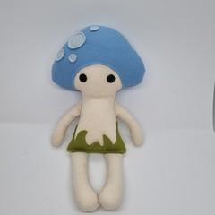 handmade blue mushroom baby doll