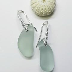 Seaglass  Earrings  - Seafoam Ice