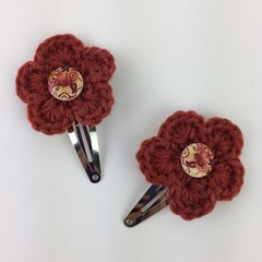 Pair Crocheted Flower Hair Clips | Ochre | Hand Crochet | Party Favour | Gift