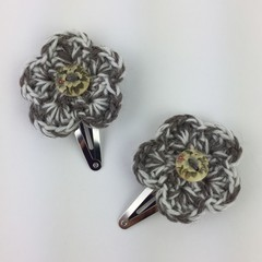 Pair Crocheted Flower Hair Clips | Natural | Hand Crochet | Party Favour | Gift
