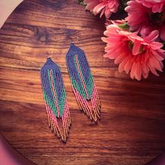 Handmade long beaded earrings