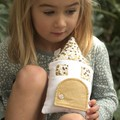 Tooth Fairy Pillow House house in grey & glittery gold