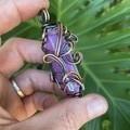 Lavender/Lilac Aura Quartz and Selenite Pendant