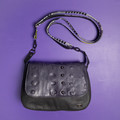 Hedy Convertible Clutch - Grey Leather with Divets and Rivets