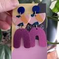 Pink & blue triple layer earrings