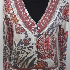 Upcycle repurposed Boho Jumper with lace insert and lace trim an motif Size 8-10