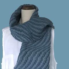 Chunky Handwoven Scarf, Soft Blue, Wool/Acrylic/Alpaca