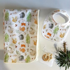 Handmade Soft Baby Blanket, 2 Pack of Bibs & Teether Gift Set in Forest Animals