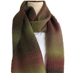 Handwoven Scarf, Wool / Acrylic blend,  Green/Plum Gradient