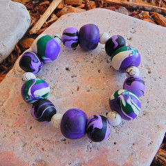 Purple & White Polymer Clay Stretch Bracelet