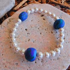 Shell Pearl & Polymer Clay Stretch Bracelet