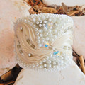 """Bead Embroidered Bracelet Cuff """"Ivory Creme"""""""