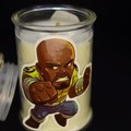 Superman and Luke Cage animation themed scented soy candle