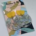 Silver foil/yellow disc earrings