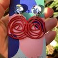 Mottled & red rose earrings
