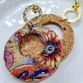 VEGAN, Printed Cork Stud Earrings, Metallic  Floral