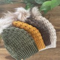 ADULT MODERN SLOUCHY BEANIE/HAT with FAUX FUR POM- Womens  - various colours