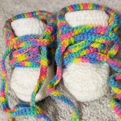 Rainbow baby booties, lace up shoes