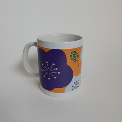 Purple Floral Mug, Coffee Mug, Hot Cocoa Mug