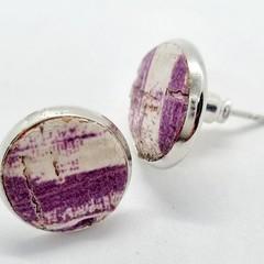 Printed Cork,  Bezel Stud Earrings, White / Purple
