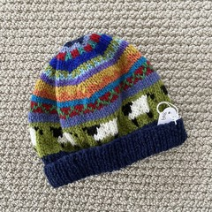 Navy sheep Beanie - to fit approx size 6-12 months -hand knitted