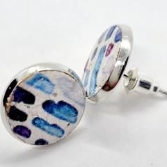 Printed Cork,  Bezel Stud Earrings, White / Blue / Purple