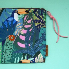 Cotton Fabric Jungle Botanical Zip Pouch / Cosmetic Zip Pouch / Pencil Case / Mo