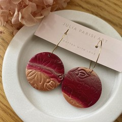 Large Ombre Gold and Burgundy Handmade Clay Hoop Earrings
