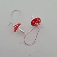 Silver and enamel toadstool charm dangle earrings