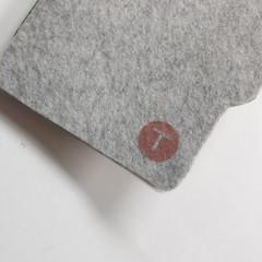 Monogram Custom Hand-Stitched A6 Felt Journal, Eggplant / Mint / Light Grey