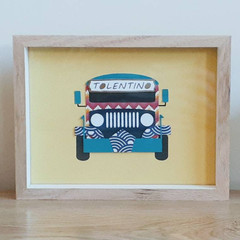 Framed Paper Collage Art, Jeepney Chevron, Red/Navy/Turquoise