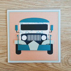 Jeepney Paper Collage Card / Dainty Blue Floral