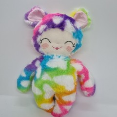 handmade rainbow bear softie doll