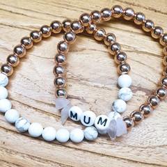 Personalised Name Stretch Bead Bracelet > Aquamarine or Rose Quartz