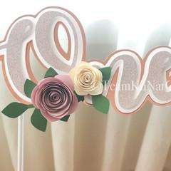 ONE 3D Caketopper in Rose Gold / 3D Floral Caketopper