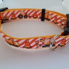Construction / excavator print adjustable dog collar