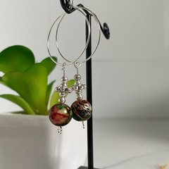Hanging Beaded Assorted Silver Hoop Earrings