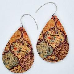 VEGAN, Cork Teardrop Earrings, Moroccan Print