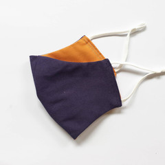 Purple Two-tone, Washable 3-Layer Fabric Cotton Face Mask, With adjustable earlo