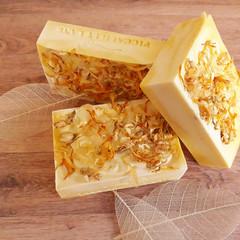 Green Tea & Calendula Sunshine Bars- Handcrafted Soap - Jasmine Petals