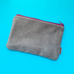 Olive Corduroy Fabric Zip Pouch / Cosmetic Zip Pouch / Pencil Case / Mobile Phon