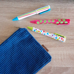 Blue Steel Corduroy Fabric Zip Pouch / Cosmetic Zip Pouch / Pencil Case / Mobile