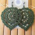 Large Leaves Crochet Earrings