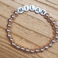 Personalised Name Stretch Bead Bracelet > Electroplated Hematite