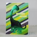 Brontosaurus Birthday Card with Striped Background, Dinosaur Birthday Card